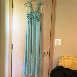 Sky long teal maxi dress